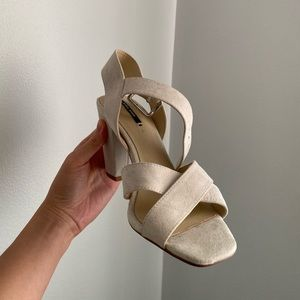 Cream Mid Heel Sandals